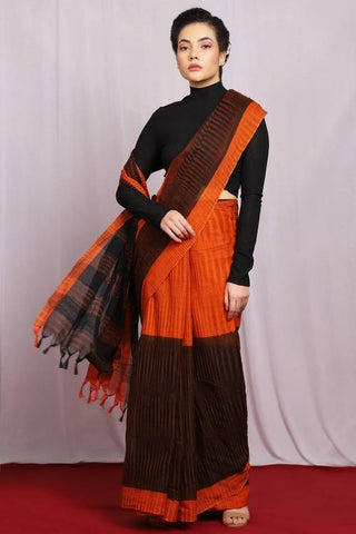 Orange and  Black Color Handloom Pure Cotton Women's Saree - J016