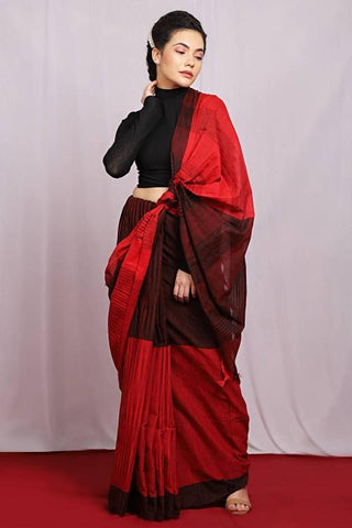 Red and Black Color Handloom Pure Cotton Women's Saree - J018
