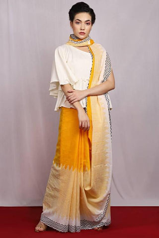 Yellow and White Color Pure Cotton Women's Saree - J019
