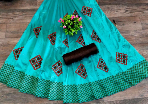 Sky Blue Color Silk Patta Saree - JANCRTN-s-18