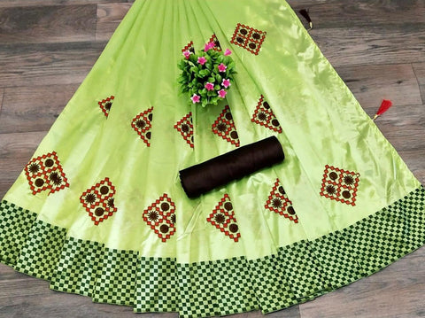 Light Green Color Silk Patta Saree - JANCRTN-s-28