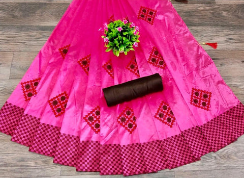 Rani Pink Color Silk Patta Saree - JANCRTN-s-38