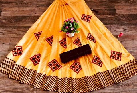 Yellow Color Silk Patta Saree - JANCRTN-s-48