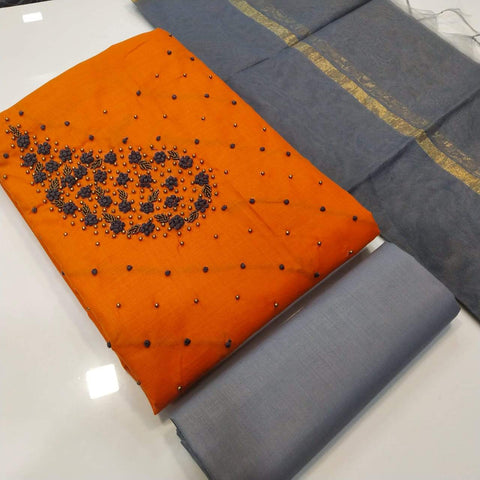 Orange And Grey Color  Semi Modal Dreses - JANVI-CR-D-230