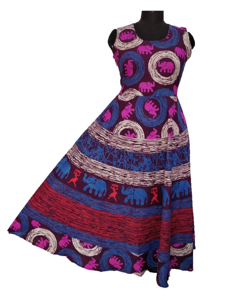 Buy Multi Color Pure Cotton Fast Color Stitched Gown