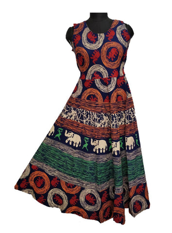Multi Color pure Cotton Fast Color Stitched Gown  - JCF-3