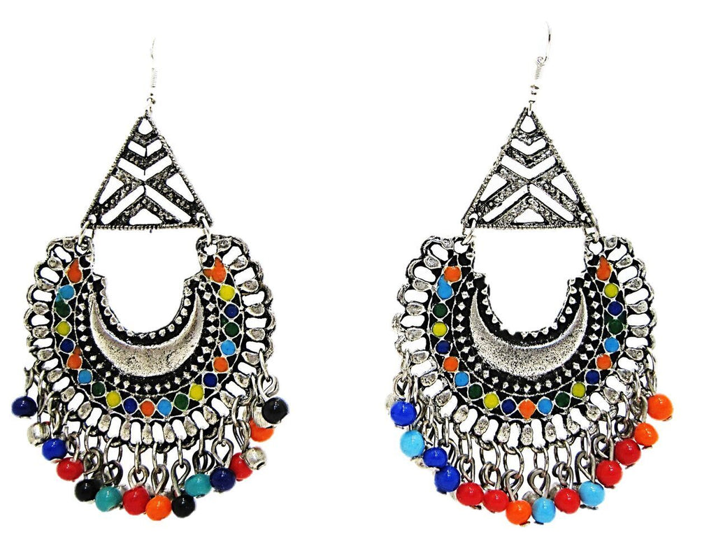 Multi Color Oxidized Silver Earring