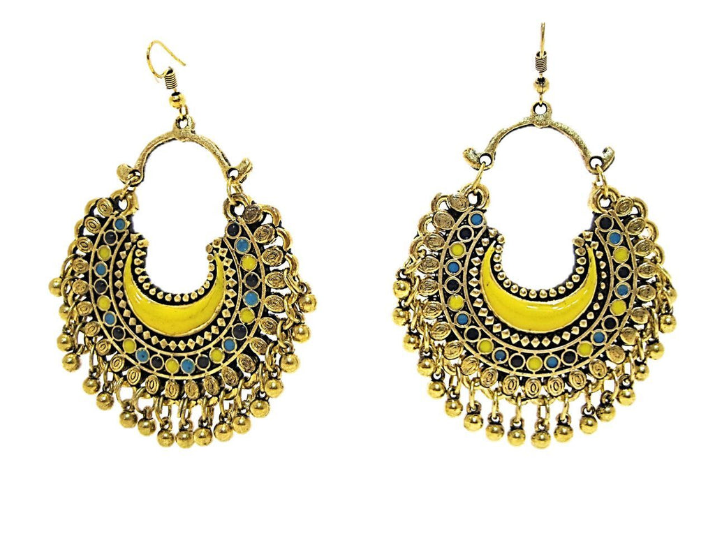 Golden and Yellow Color Oxidized Silver Earring
