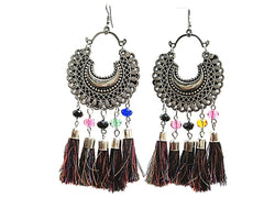 Silver and Black Color Germansilver and Tassel Earring