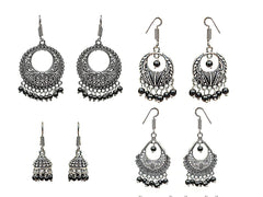 Silver and Black Color Oxidized Silver  Beads Earring