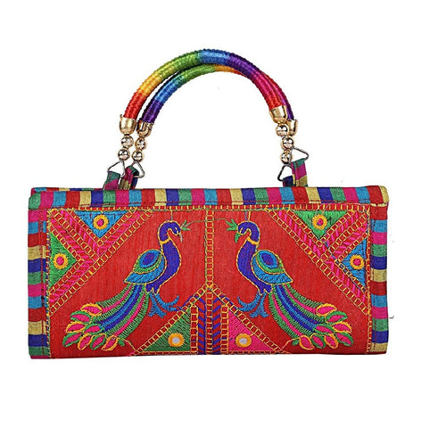 Multi Color Cotton Women's Handmade Clutch - JF-093448