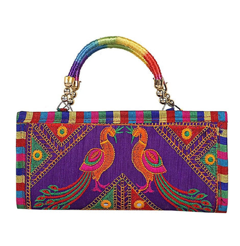 Multi Color Cotton Women's Handmade Clutch - JF-093601