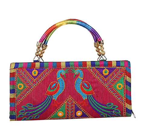 Multi Color Cotton Women's Handmade Clutch - JF-093719