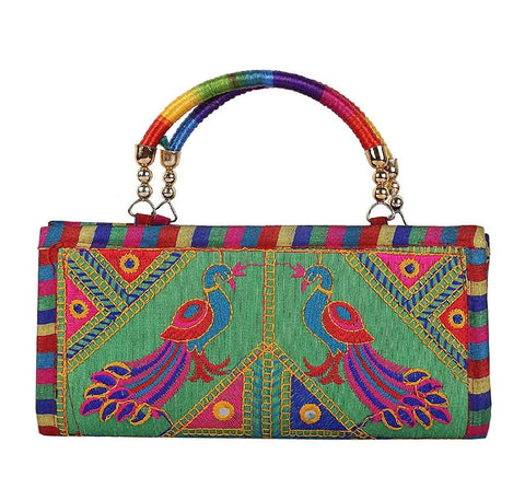 Multi Color Cotton Women's Handmade Clutch - JF-093835