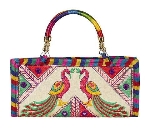 Multi Color Cotton Women's Handmade Clutch - JF-093914