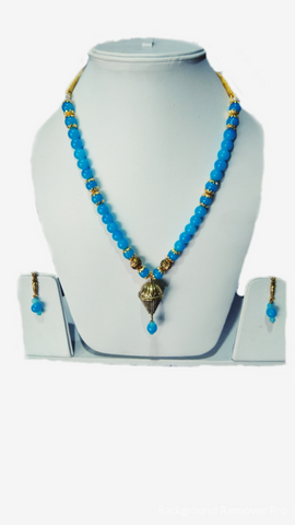 Sky Blue Color Alloy Women's Necklace Set with Earrings - JF-100120-NKLC-1