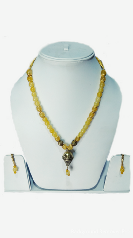 Yellow Color Alloy Women's Necklace Set with Earrings - JF-100120-NKLC-2