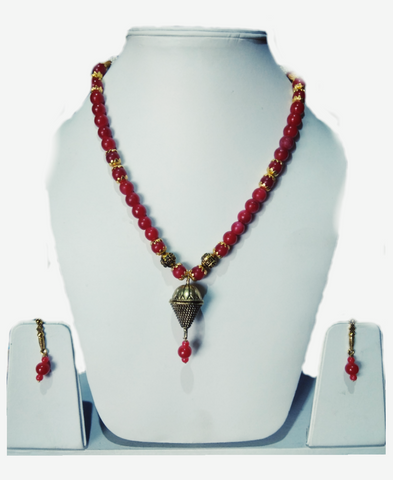 Red Color Alloy Women's Necklace Set with Earrings - JF-100120-NKLC-3