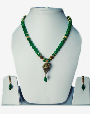 Green Color Alloy Women's Necklace Set with Earrings - JF-100120-NKLC-4