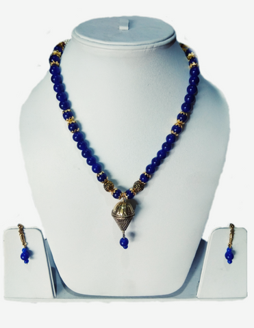 Royal Blue Color Alloy Women's Necklace Set with Earrings - JF-100120-NKLC-5