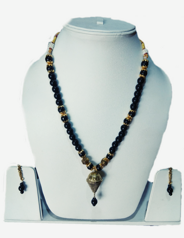 Black Color Alloy Women's Necklace Set with Earrings - JF-100120-NKLC-6