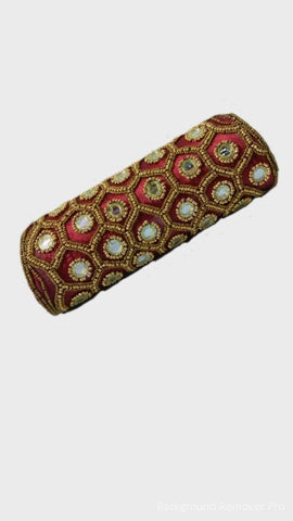 Maroon Color Raw Silk Clutch - JF-16