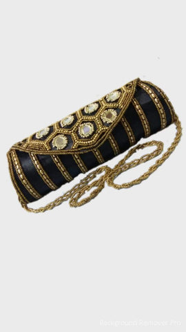Black Color Raw Silk Clutch - JF-17