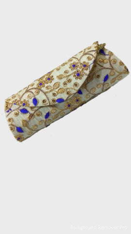 White Color Raw Silk Clutch - JF-19