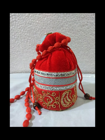 Red Color Gota Patti Velvet Potli Bag - JF-1