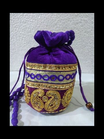 Purple Color Gota Patti Velvet Potli Bag - JF-2