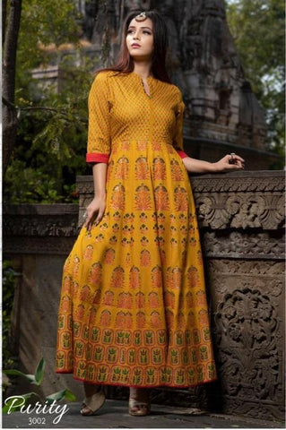 Yellow Color Maslin Women's Stitched Gown - JF-3002