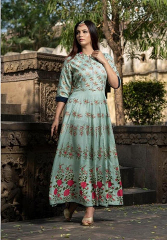 Blue Color Maslin Women's Stitched Gown - JF-3006