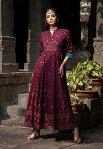 Maroon Color Maslin Women's Stitched Gown - JF-3007