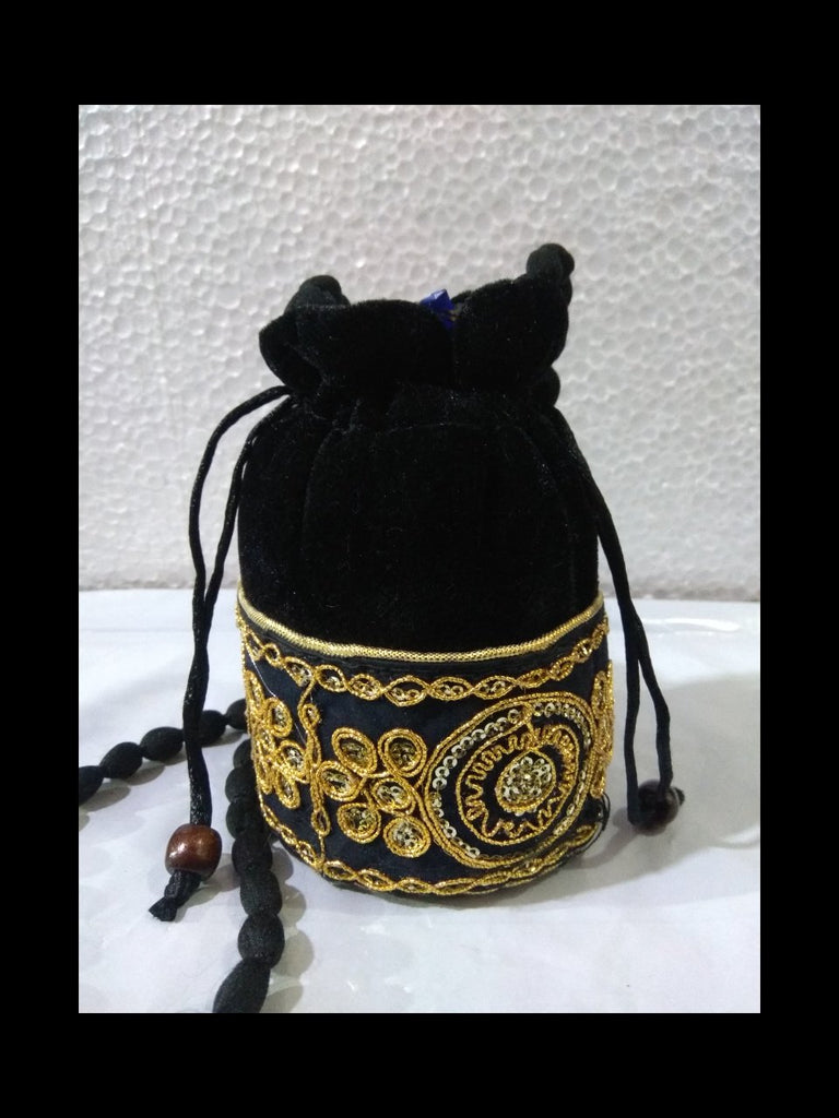 Buy Black Color Gota Patti Velvet Potli Bag