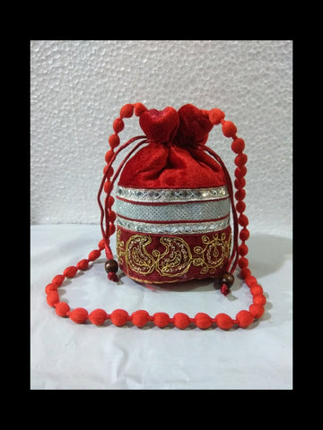 Maroon Color Gota Patti Velvet Potli Bag - JF-4