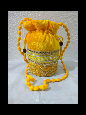 Yellow Color Gota Patti Velvet Potli Bag - JF-5