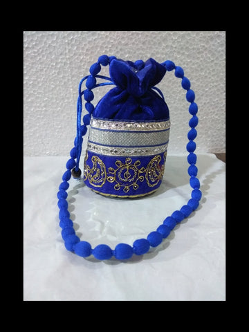 Blue Color Gota Patti Velvet Potli Bag - JF-7