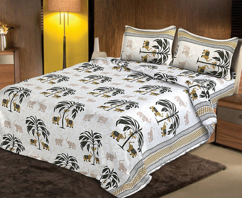 White and Black Color pure Rozi cotton  Stitched Bedsheet  - JF-JCB-1