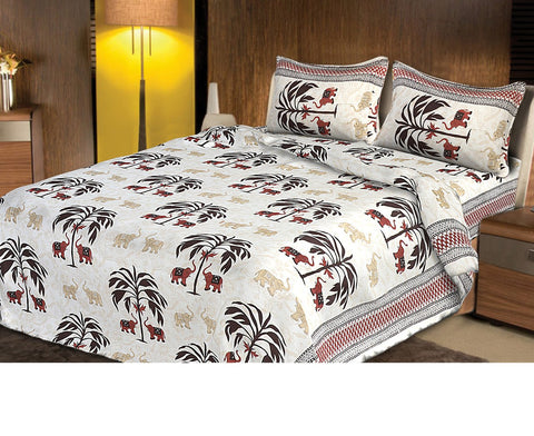 White and Red Color pure Rozi cotton  Stitched Bedsheet  - JF-JCB-2