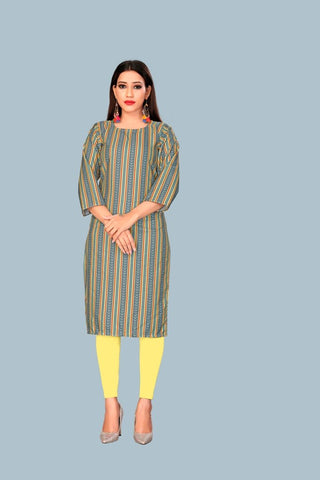 Grey Yellow Color Heavy Maslin Women's Stitched Kurti - JF-R10