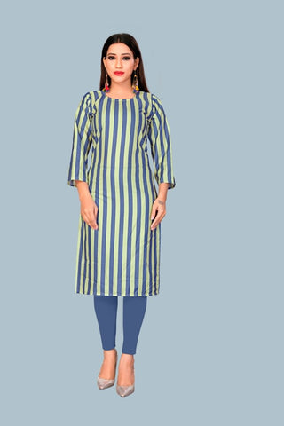 Blue Green Color Heavy Maslin Women's Stitched Kurti - JF-R11