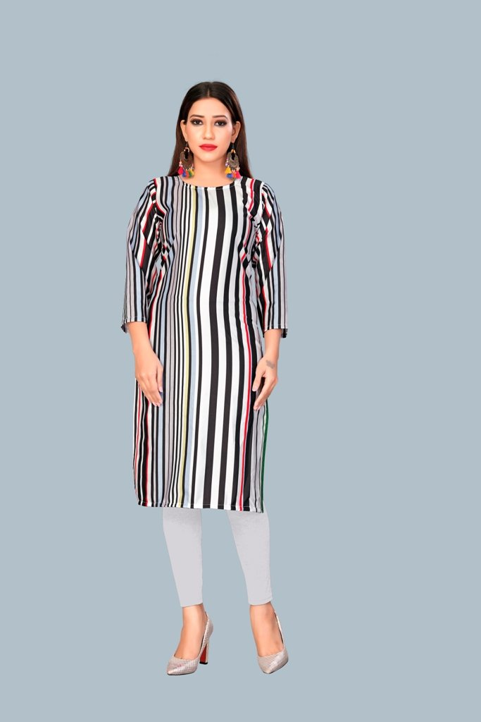 Buy Black Grey Color Heavy Maslin Women's Stitched Kurti