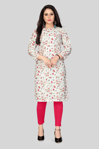 White Pink Color Heavy Maslin Women's Stitched Kurti - JF-R1