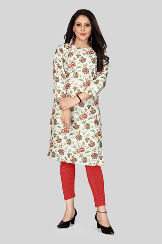 White Red Color Heavy Maslin Women's Stitched Kurti - JF-R2