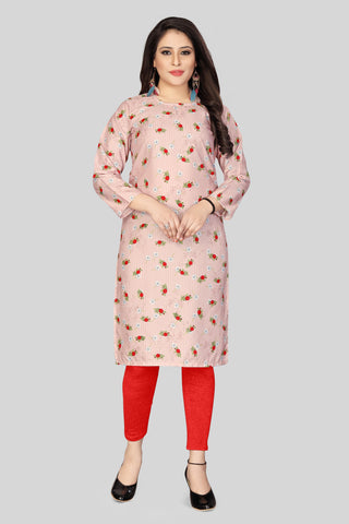 Peach Red Color Heavy Maslin Women's Stitched Kurti - JF-R3