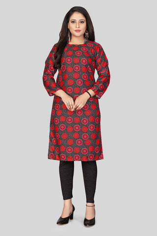Maroon Black Color Heavy Maslin Women's Stitched Kurti - JF-R4
