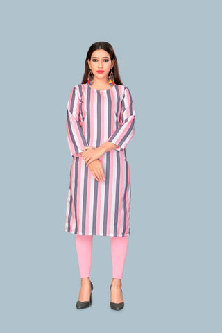 Pink Color Heavy Maslin Women's Stitched Kurti - JF-R7