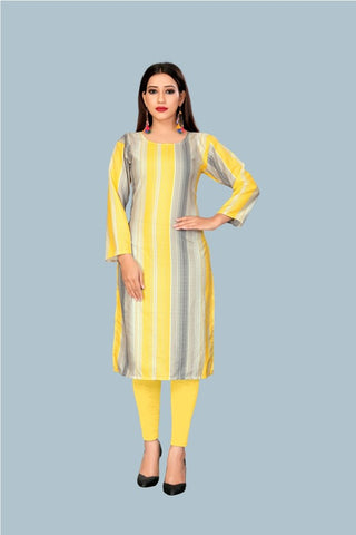 Yellow Color Heavy Maslin Women's Stitched Kurti - JF-R8