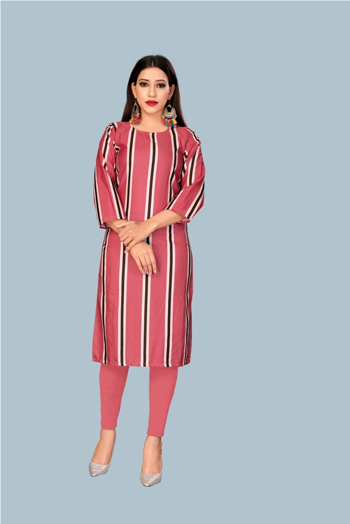 Buy Pink Color Heavy Maslin Women's Stitched Kurti