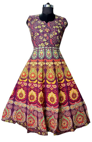 Multi Color Cotton Stitched Dress - JFDL2108201